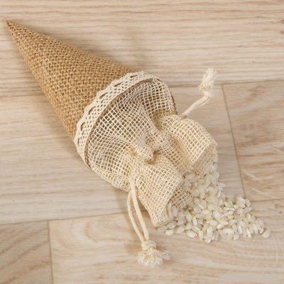 Conos arroz cierre yute