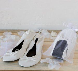 Bailarinas enrollables blancas