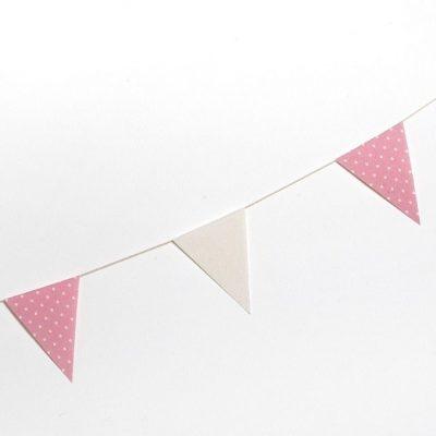 Guirnalda bandera tela rosa