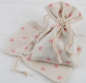 Bolsa de algodón estrellas rosas