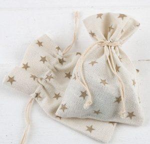 Bolsa de algodón estrellas beige
